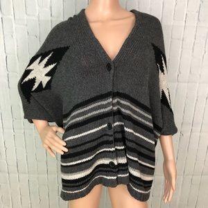 Urban Behavior Button Up Kimono Poncho Sweater